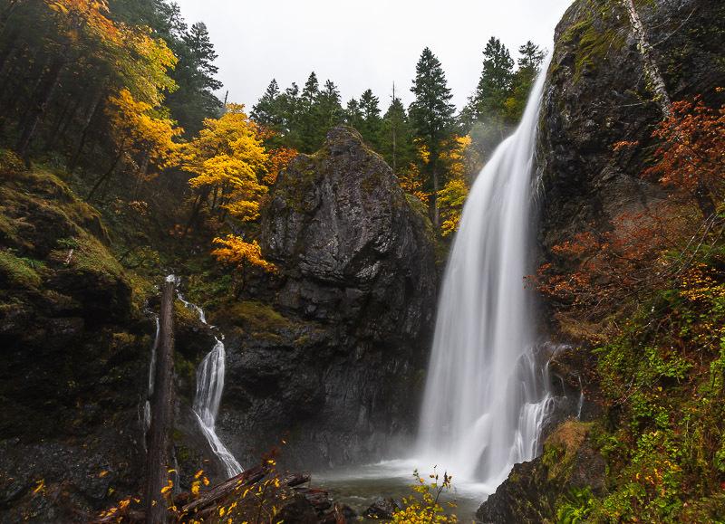 Waterfall and autumn scenery